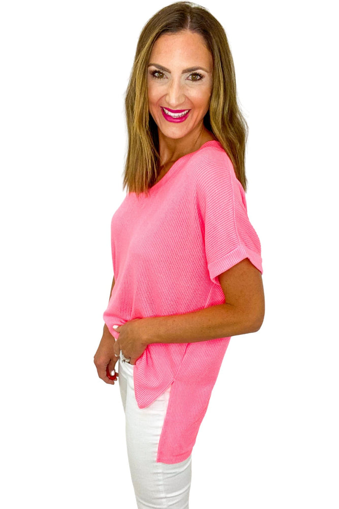 Neon Pink Oversized V Neck Top