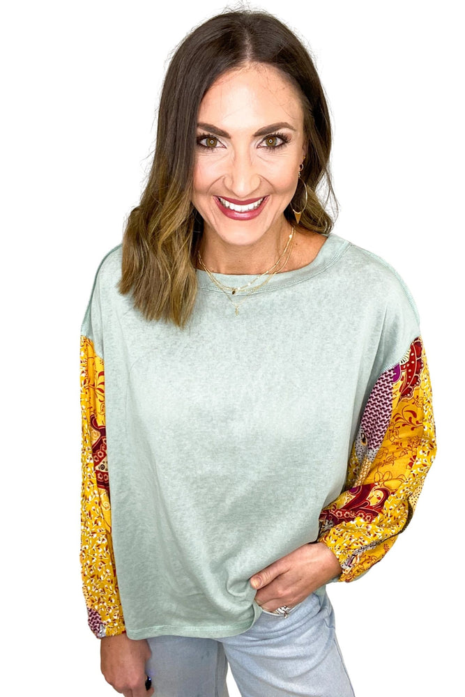 faded sage top with long mixed pattern sleeves, wide leg cropped jeans, spring tops, stacked bracelets, affordable style, shop style your senses by mallory fitzsimmons