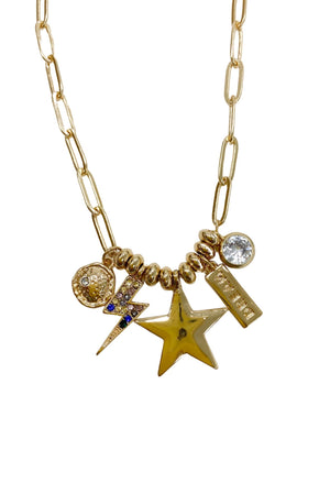 Load image into Gallery viewer, Gold Paperclip Chain Necklace w/ Charms