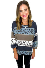 Animal Print and Neutral Tone Color Block Top