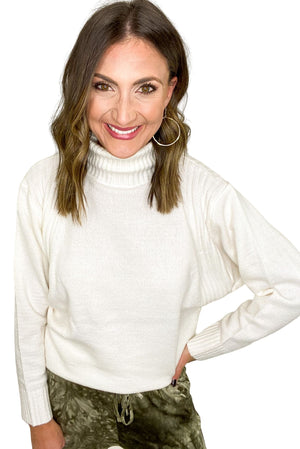 Ivory Turtleneck Sweater w/ Ribbed Detail