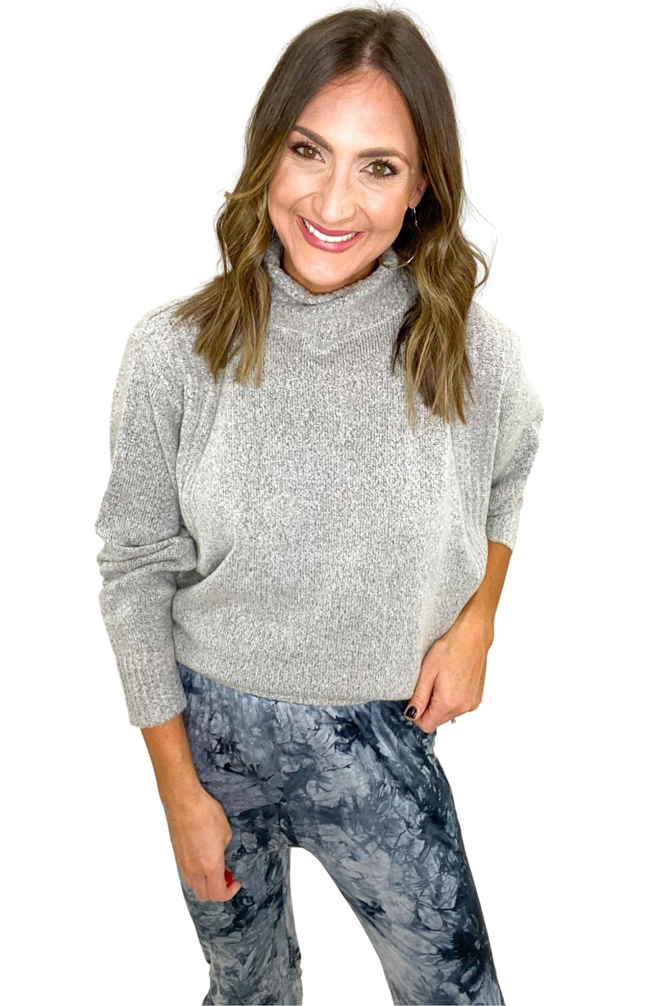 Heather Grey Turtleneck Sweater w/ Ribbed Detail