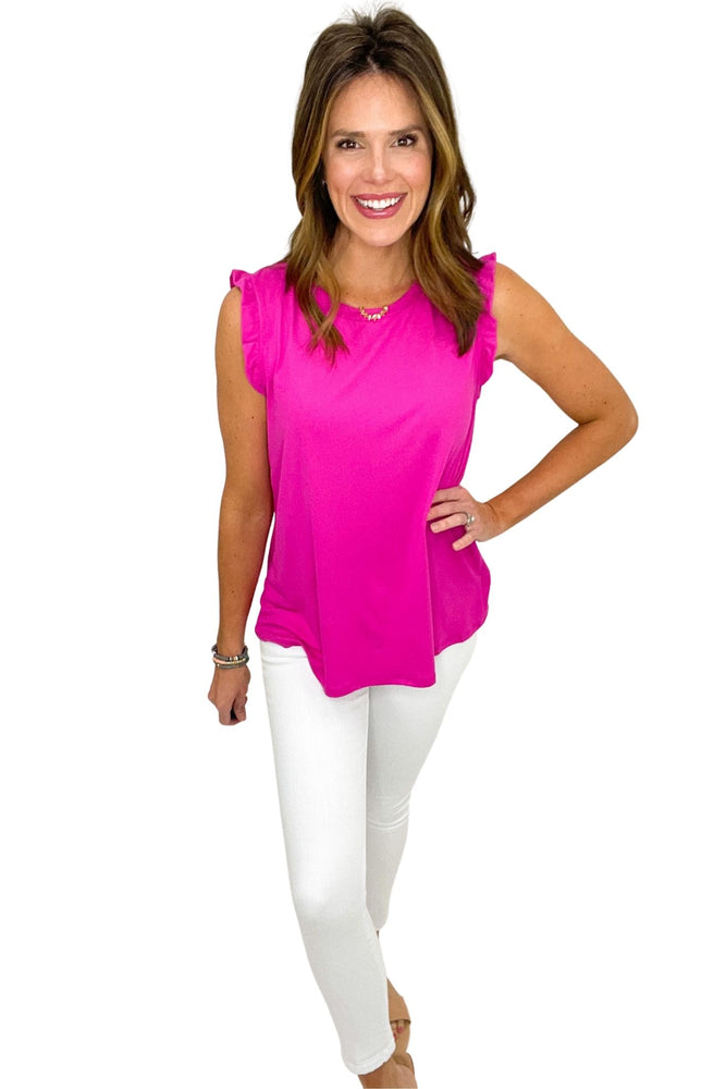 pink tank with ruffle hem, white skinny jeans, spring tops, shop style your senses by mallory fitzsimmons