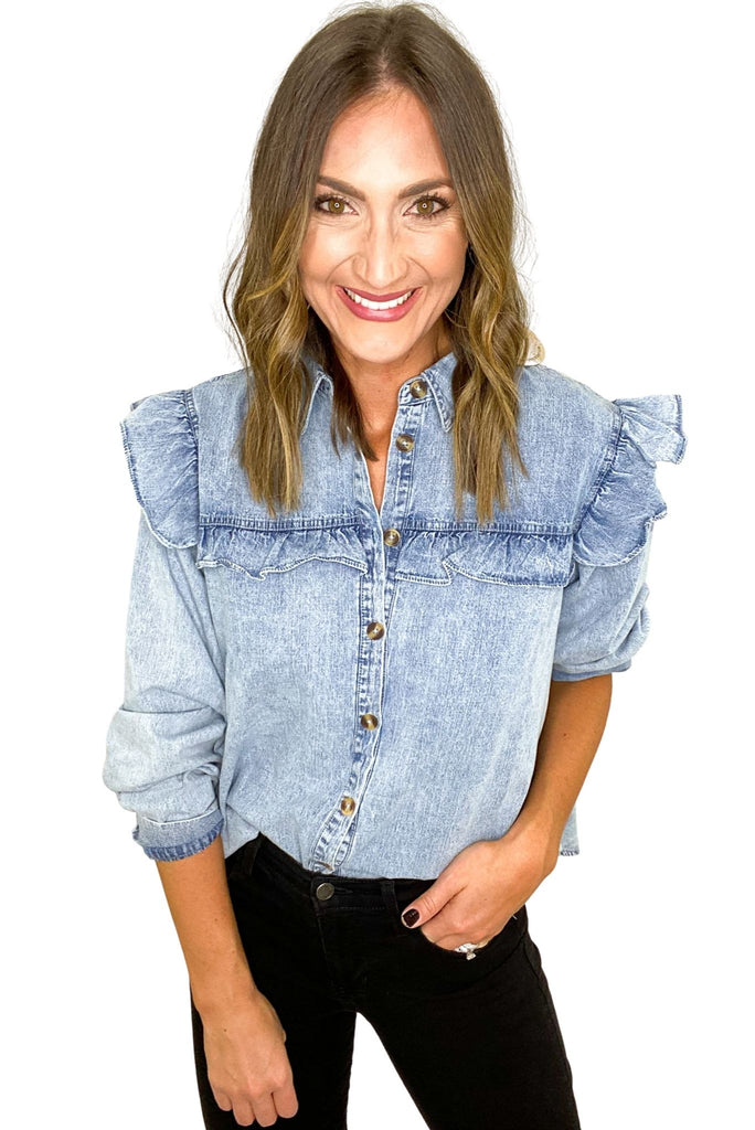 Long Sleeve Denim Top w/ Ruffle Details
