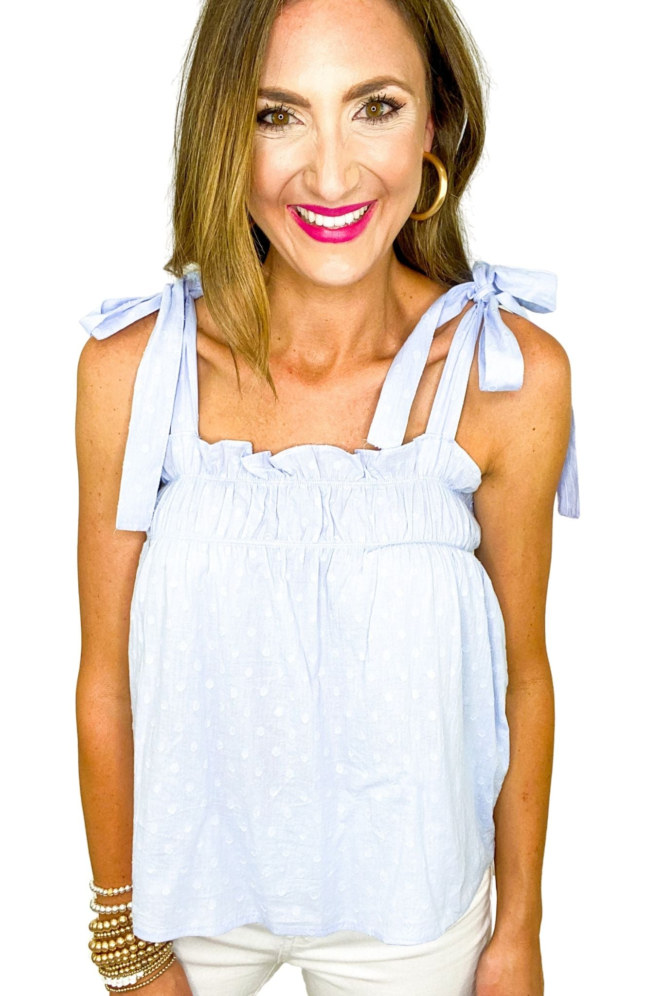 Light Blue Swiss Dot Tie Shoulder Cami *FINAL SALE*
