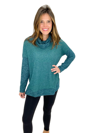 Load image into Gallery viewer, hunter green ribbed cowl neck long sleeve top, black leggings, winter wear, shop style your senses by mallory fitzsimmons