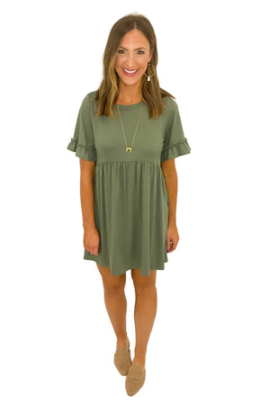 Sage Short Sleeve Dress w/ Ruffle Detail *FINAL SALE*