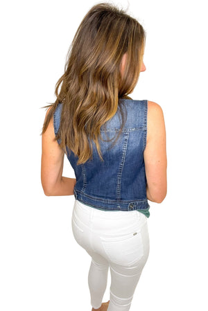 medium wash denim vest, white skinny jeans, affordable style, shop style your senses by mallory fitzsimmons