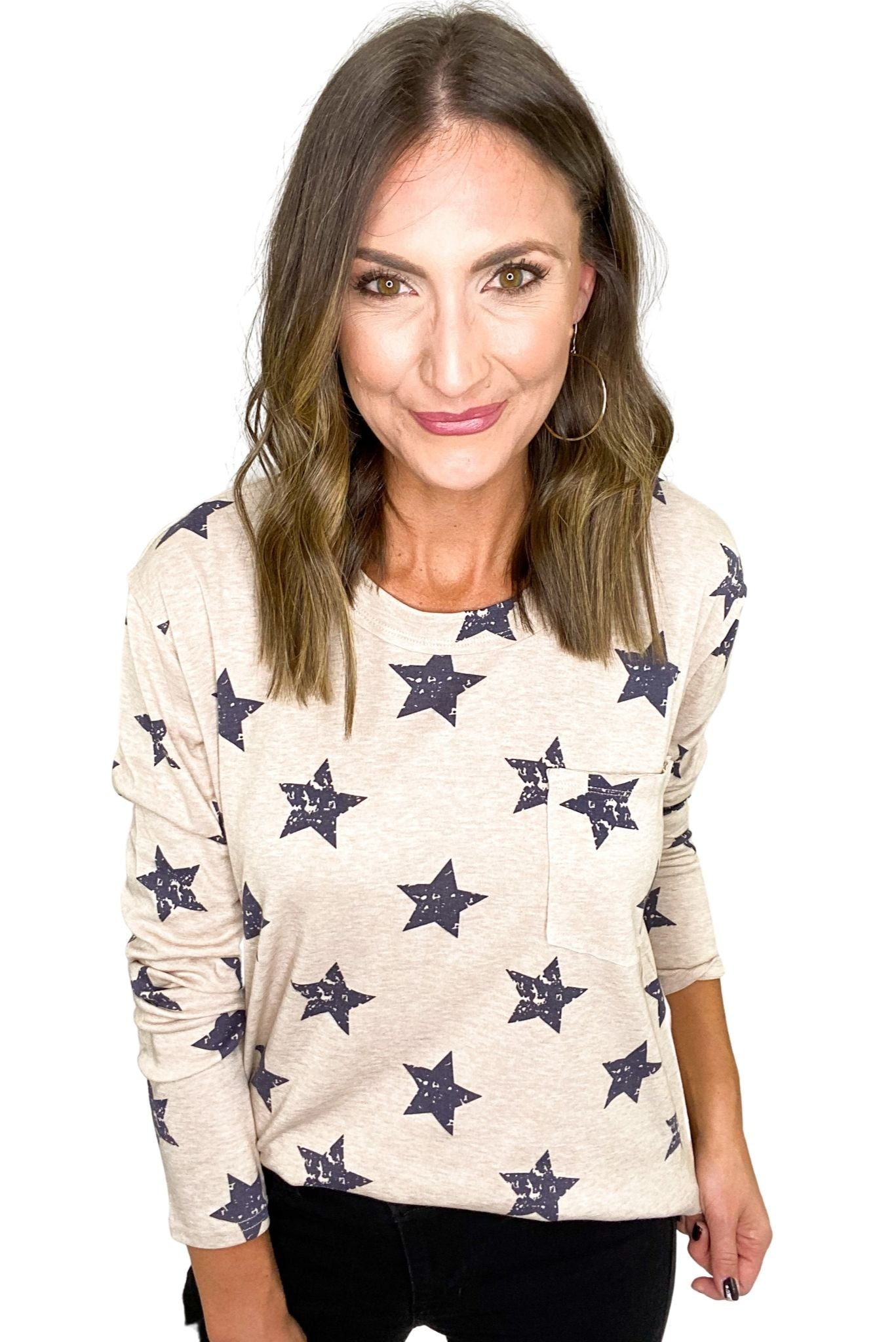 Tan All Over Star Print Long Sleeve Top