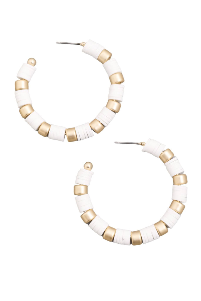 White and Gold Disc Hoop Earrings
