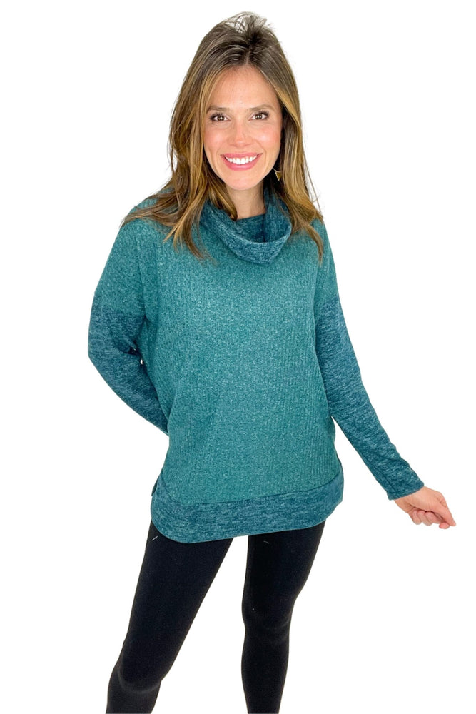 hunter green ribbed cowl neck long sleeve top, black leggings, winter wear, shop style your senses by mallory fitzsimmons