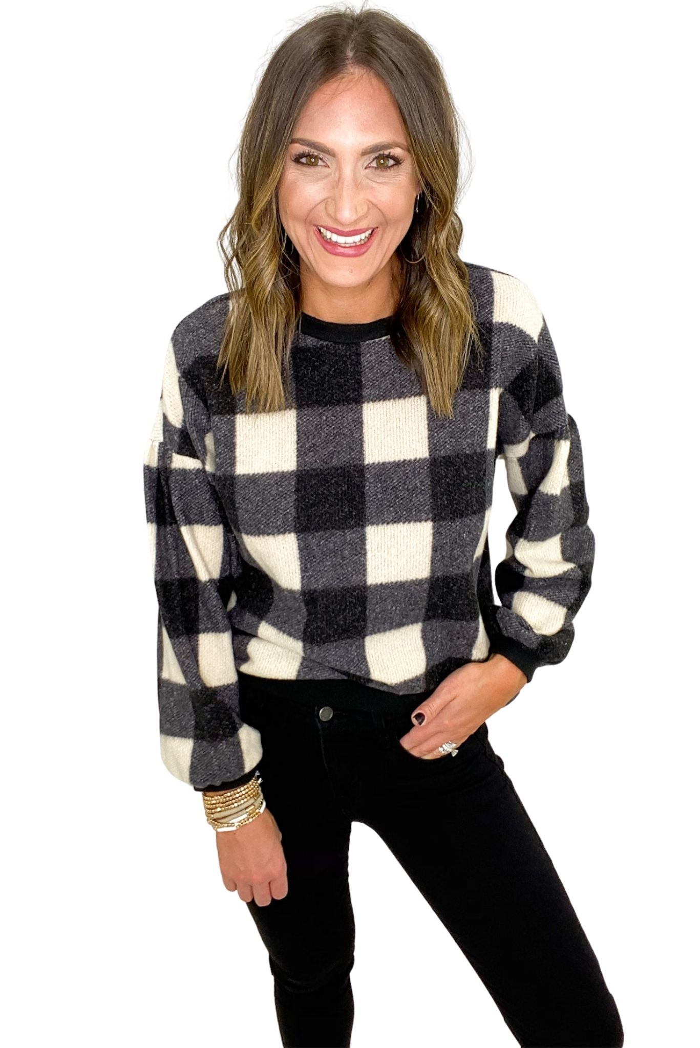 Black and White Plaid Balloon Sleeve Pullover
