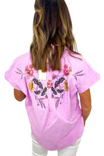 Light Purple Embroidered Back Top