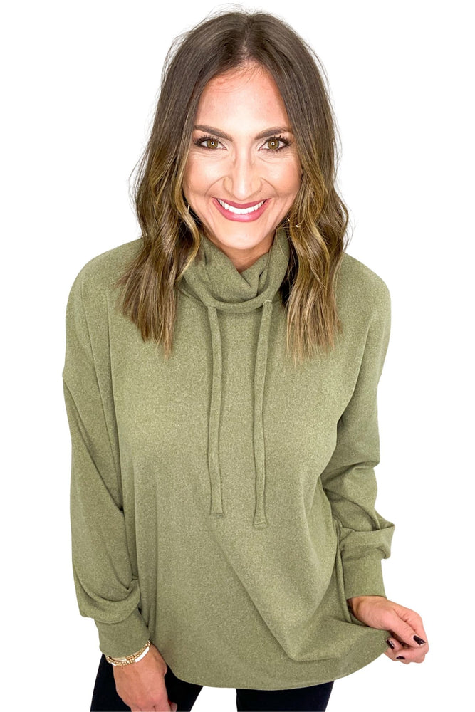 Load image into Gallery viewer, Olive Brushed Turtleneck w/ Drawstrings *FINAL SALE*
