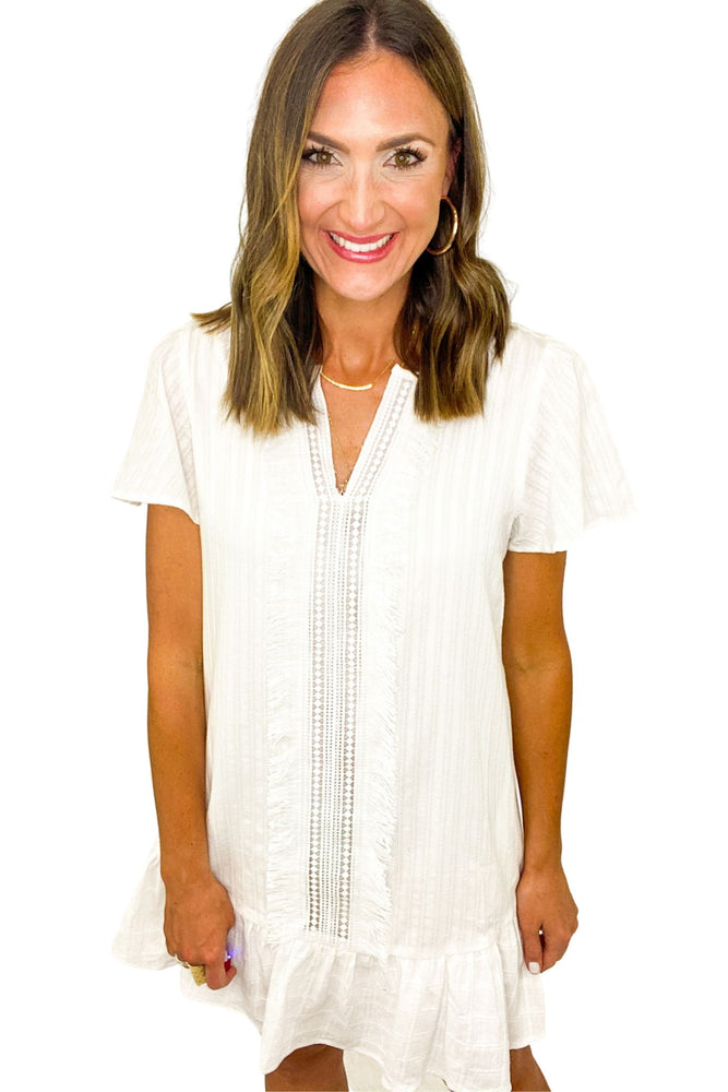 White Short Sleeve Dress w/ Fringe Insert