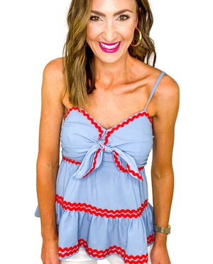 Slate Blue Ric Rac Strappy Top *FINAL SALE*