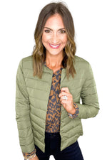 Olive Collarless Puffer Jacket