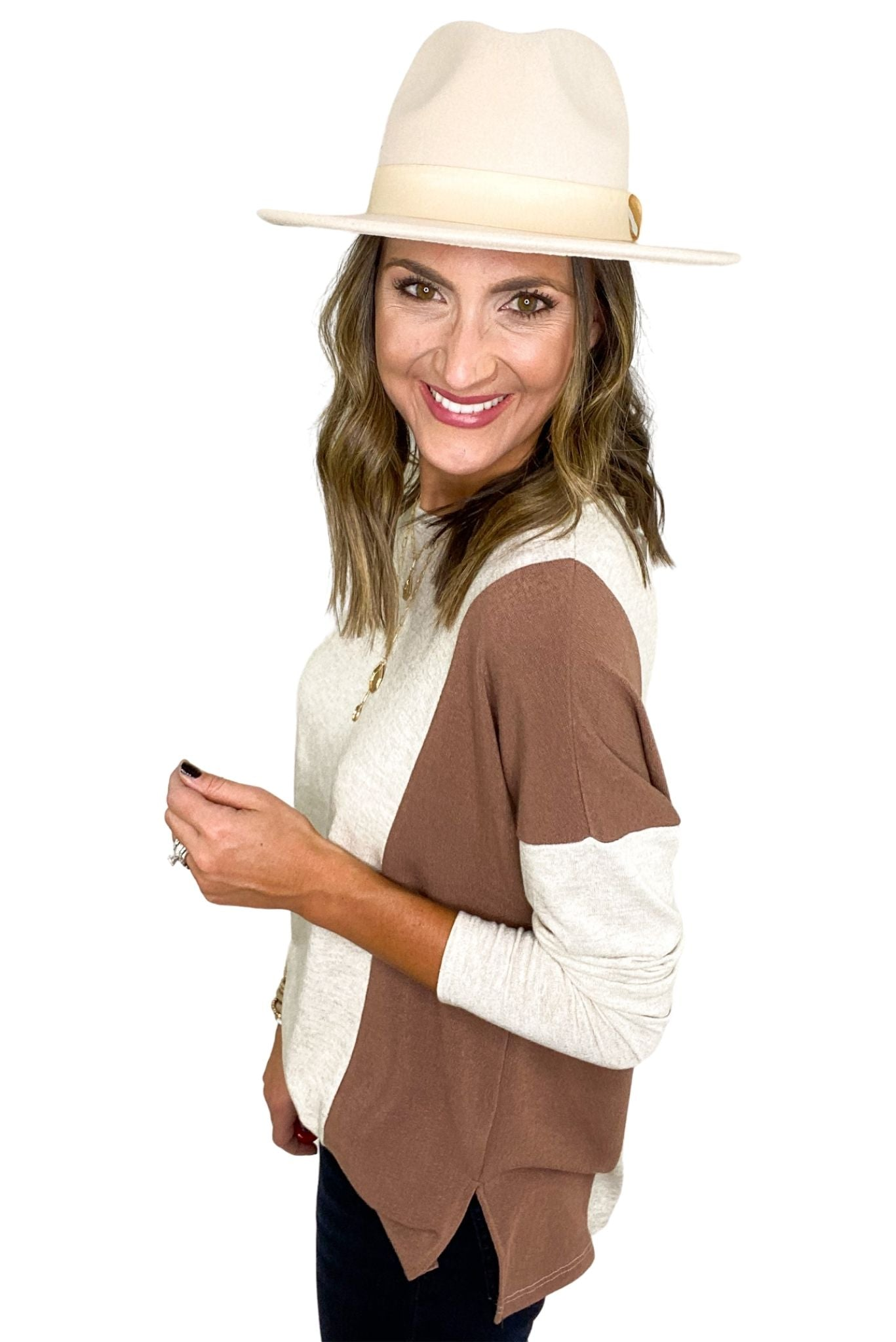 Oatmeal and Ivory Color Block Long Sleeve Top