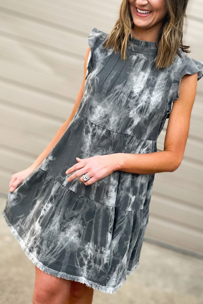 charcoal tie dye tiered flutter sleeve dress, spring dresses, shop style your senses by mallory fitzsimmons