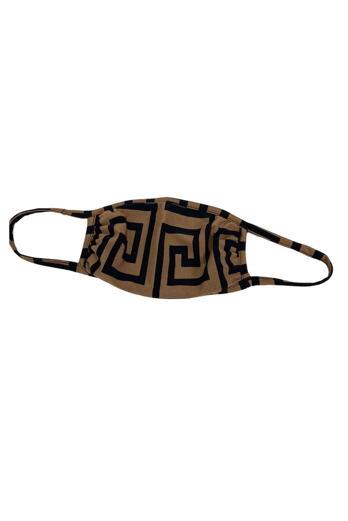 Tan and Black Geometric Pattern Mask