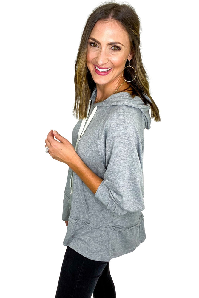 Load image into Gallery viewer, Heather Grey Dropped Peplum Hoodie w/ Pocket