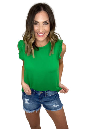 green tank with ruffle hem, distressed denim shorts, spring tops, affordable fashion, shop style your senses by mallory fitzsimmons
