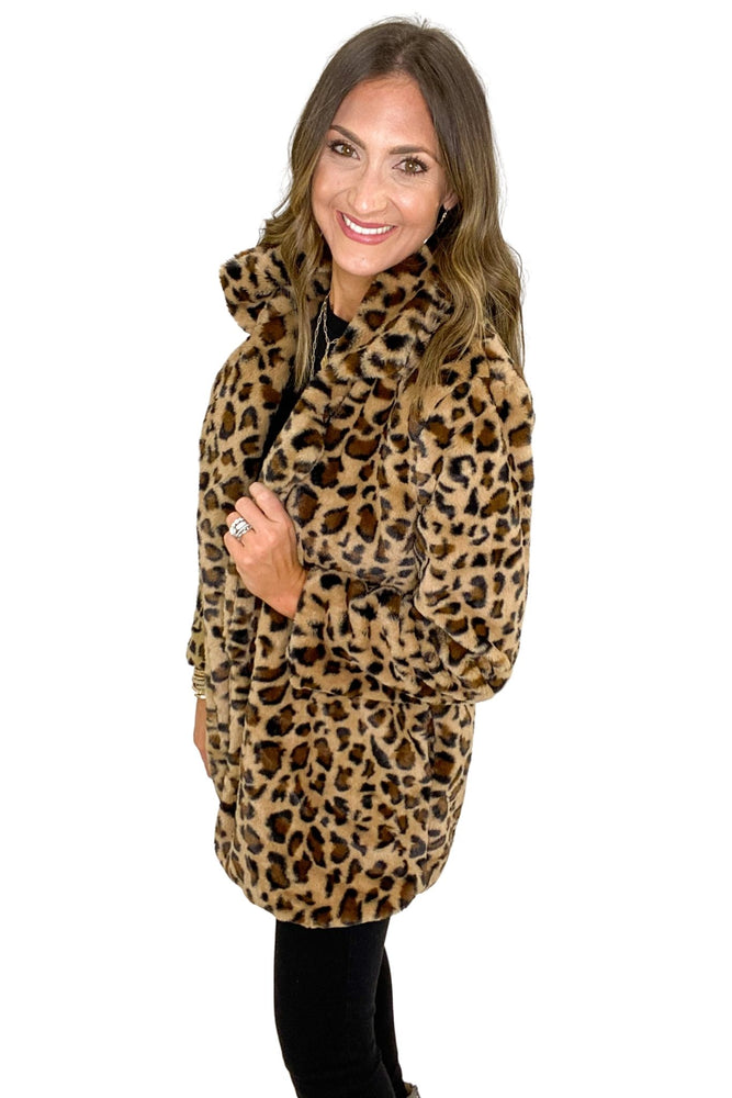 Animal Print Faux Fur Teddy Coat