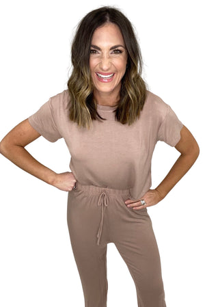 mocha super soft pant and tee loungewear set, comfy style, affordable style, shop style your senses by mallory fitzsimmons
