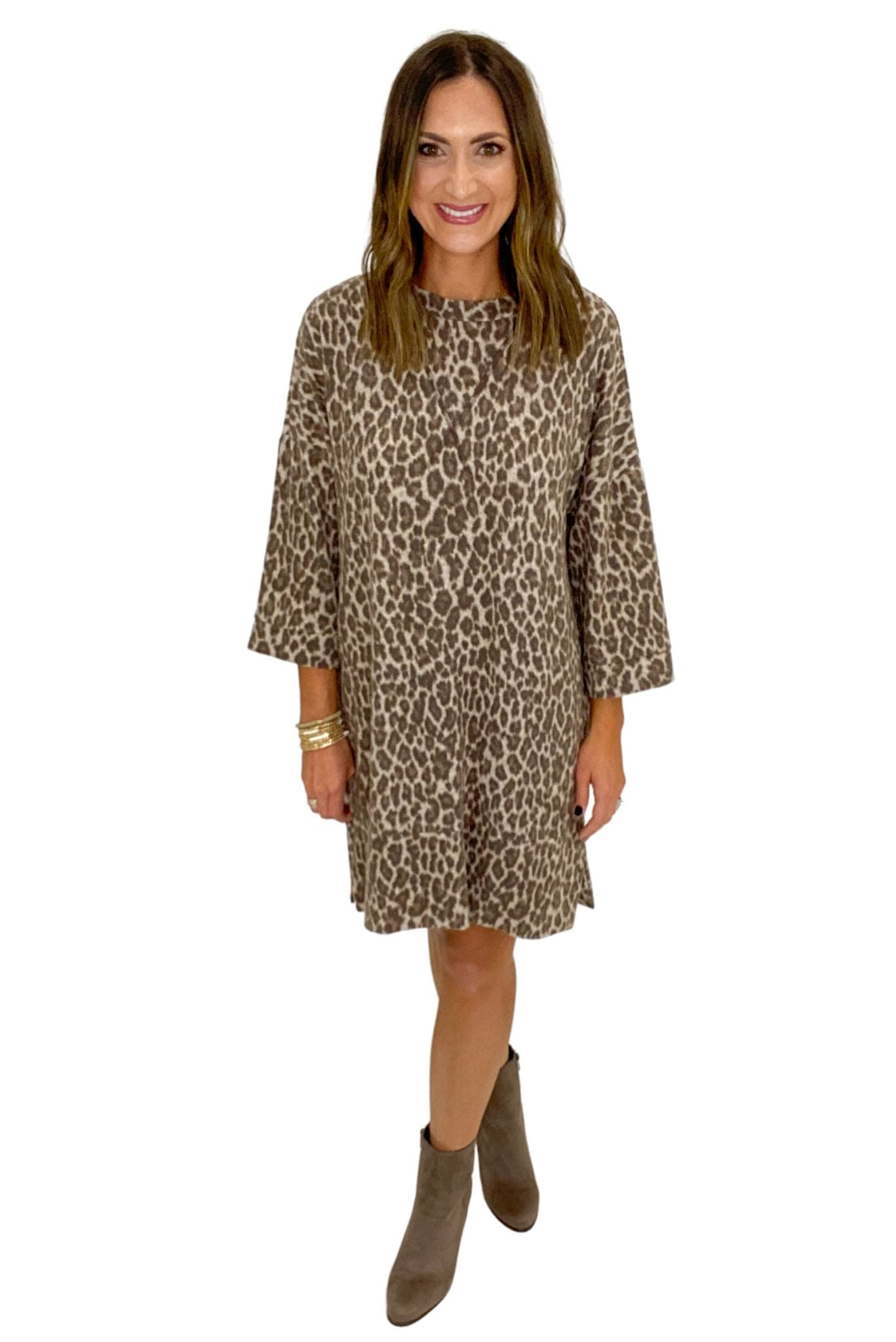 Brushed Animal Print Long Sleeve Dress