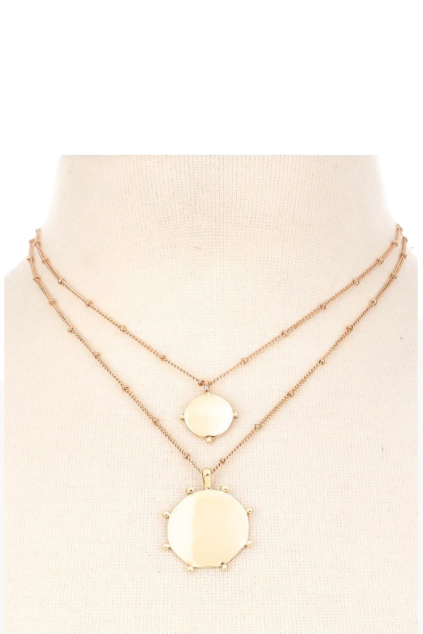 Gold Double Layer Necklace w/ Discs