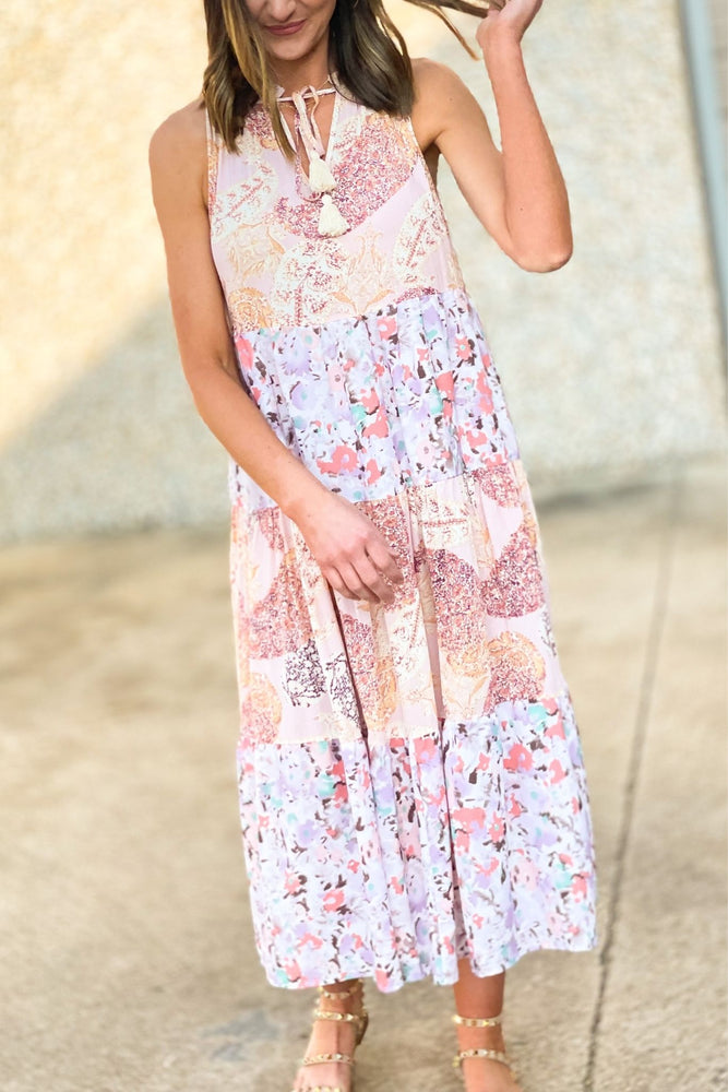 blush mixed floral tiered sleveless dress, studded sandals, spring dresses, shop style your senses by mallory fitzsimmons