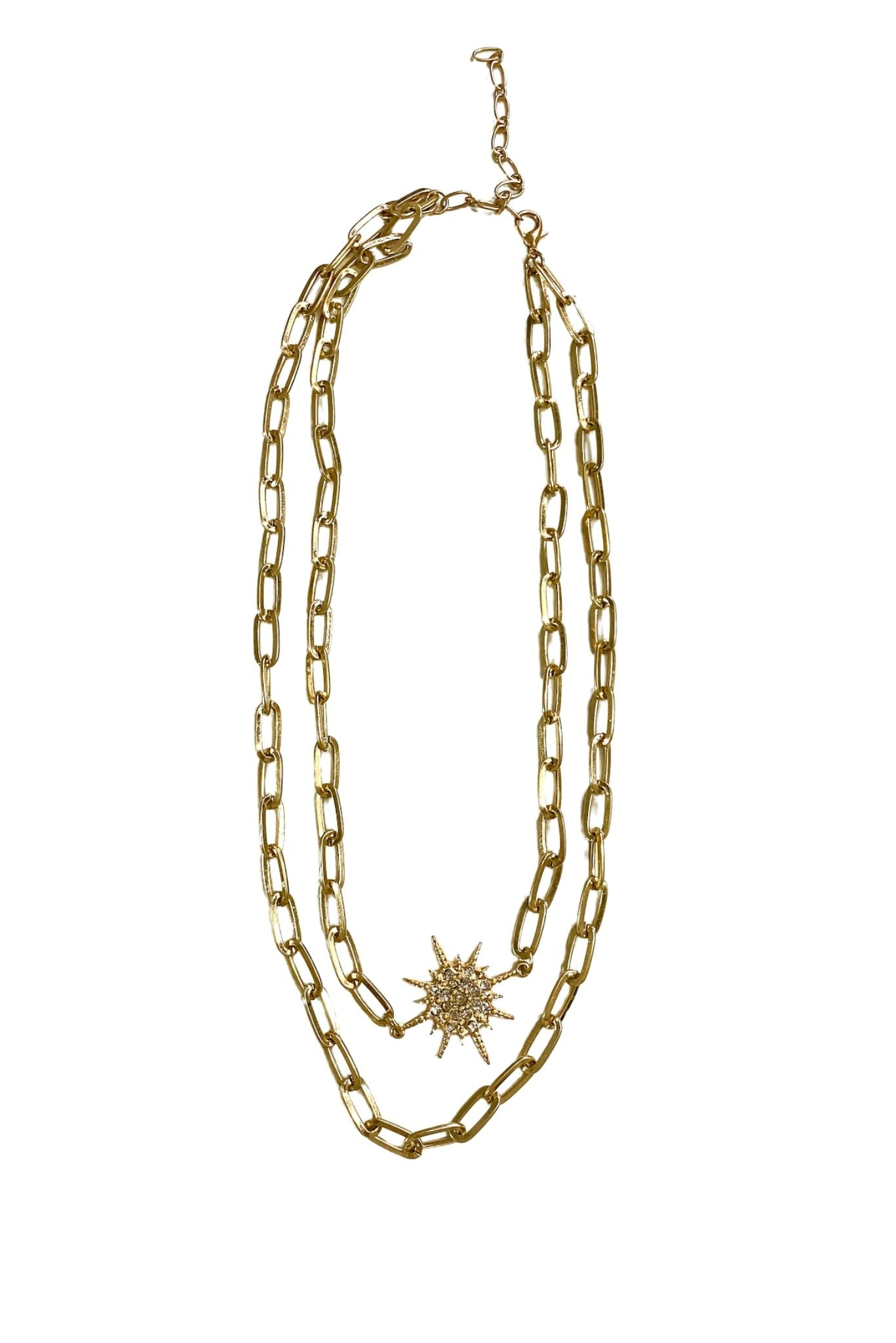 Double Chain Link Necklace w/ Starburst