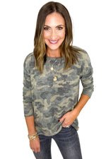 Brushed Camo Long Sleeve Top