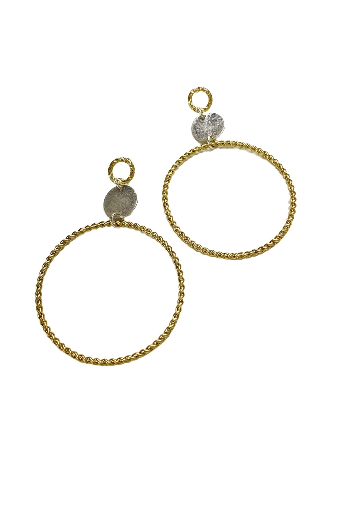 Mixed Metal Twisted Hoop Earrings