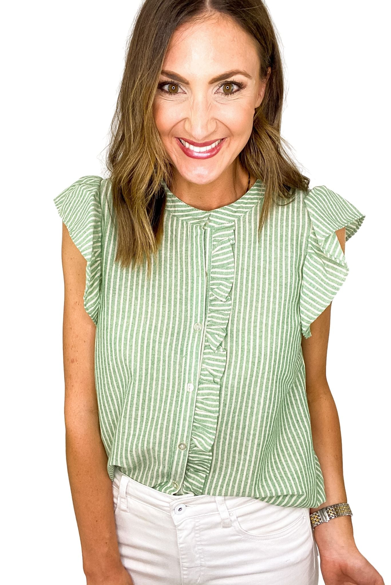 Green Stripe Flutter Sleeve Button Down Top *FINAL SALE*