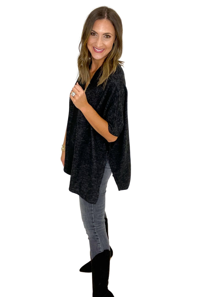 Charcoal V Neck Poncho w/ Ribbed Front Seam