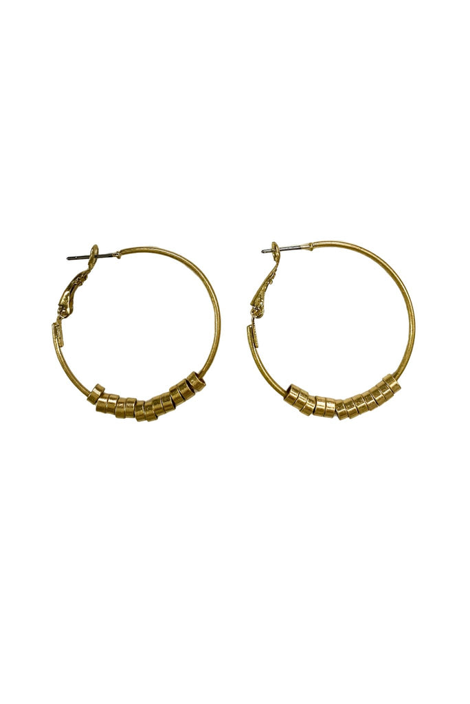 Small Gold Hoops w/ Circular Beads