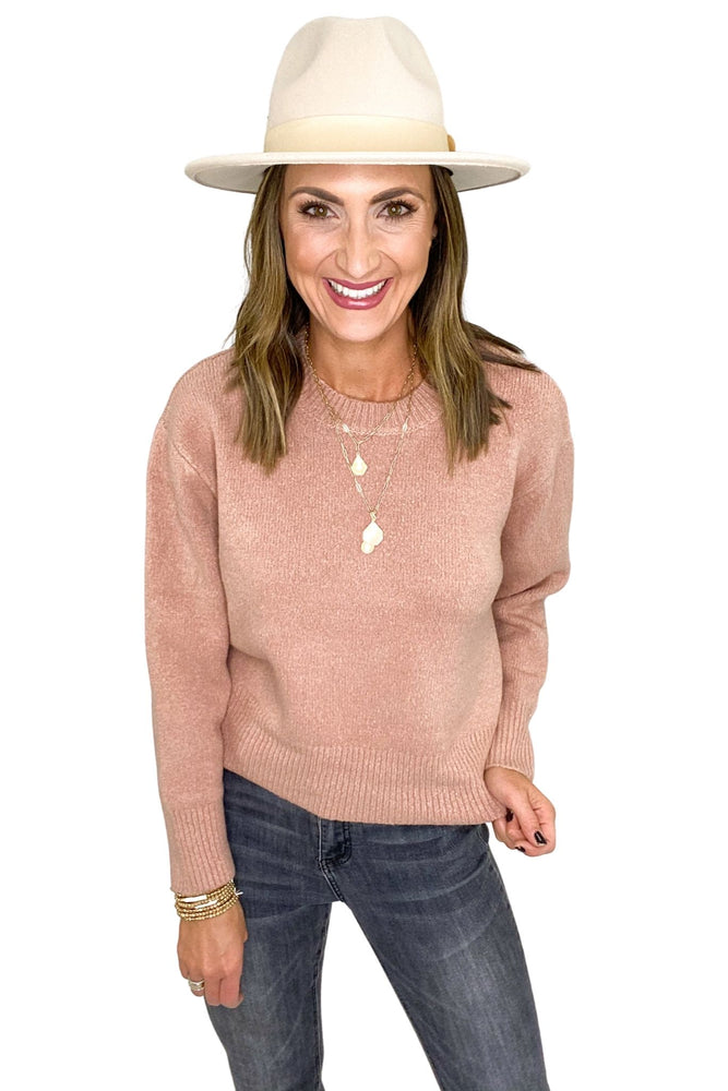 Rose Crew Neck Dropped Shoulder Sweater