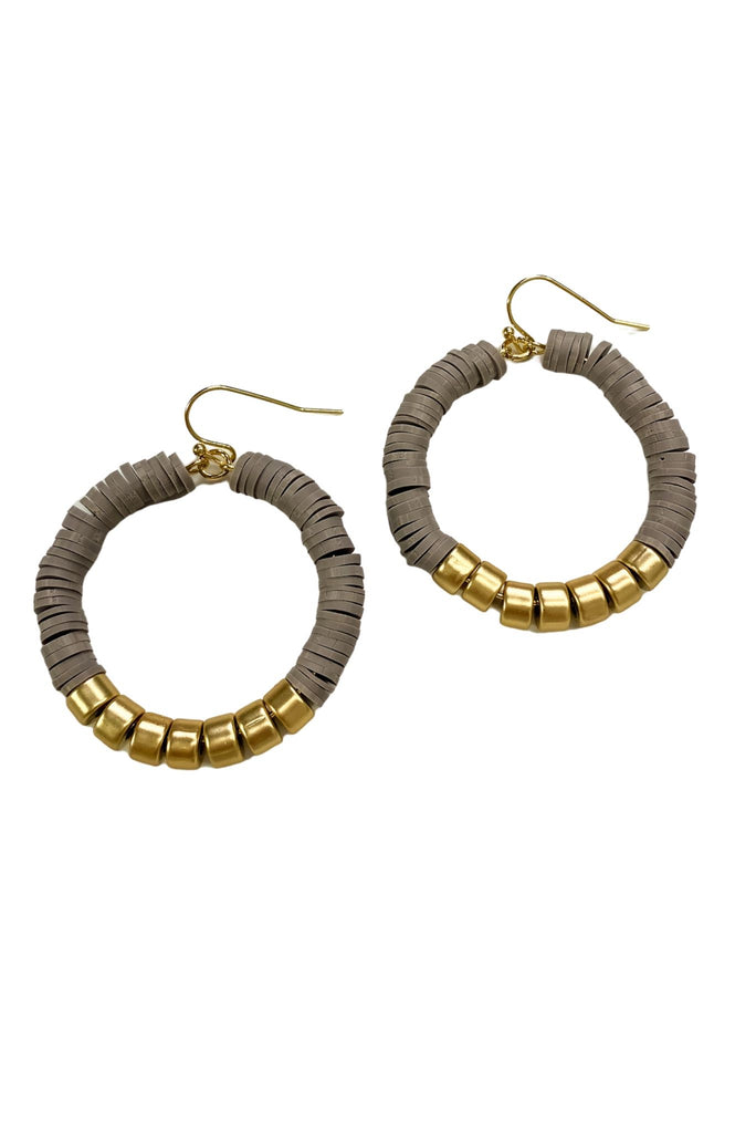 Grey Rubber Disc Hoop Earrings w/ Gold Accent Beads