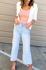 ivory fitted blazer, work to weekend, wide leg cropped jeans, shop style your senses by mallory fitzsimmons