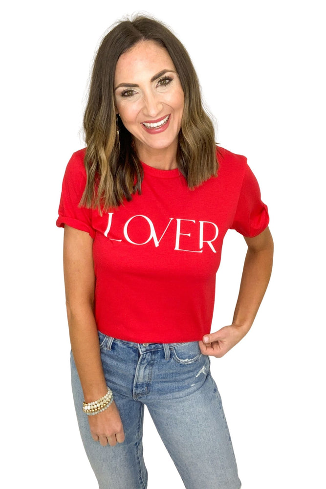 red lover graphic tee, valentines tees, valentines day style, shop style your senses by Mallory Fitzsimmons
