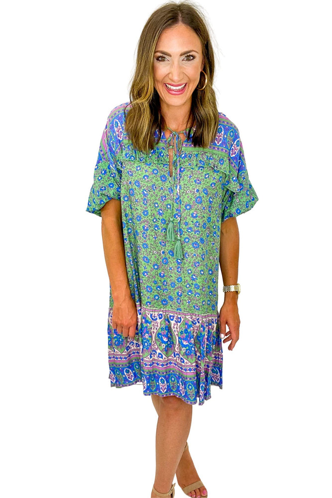 Blue and Green Mixed Print Hi Low Boho Dress