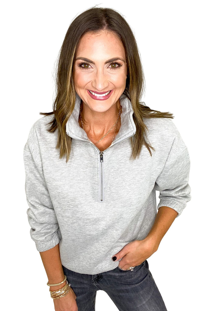 Heather Grey Half Zip Pullover