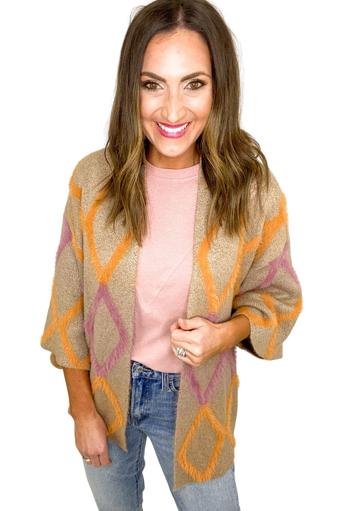 Orange and Pink Argyle Print Cardigan