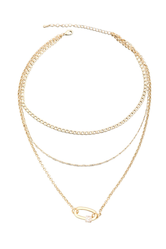Layered Gold Chain Necklace w/ Rhinestone Paperclip Charm