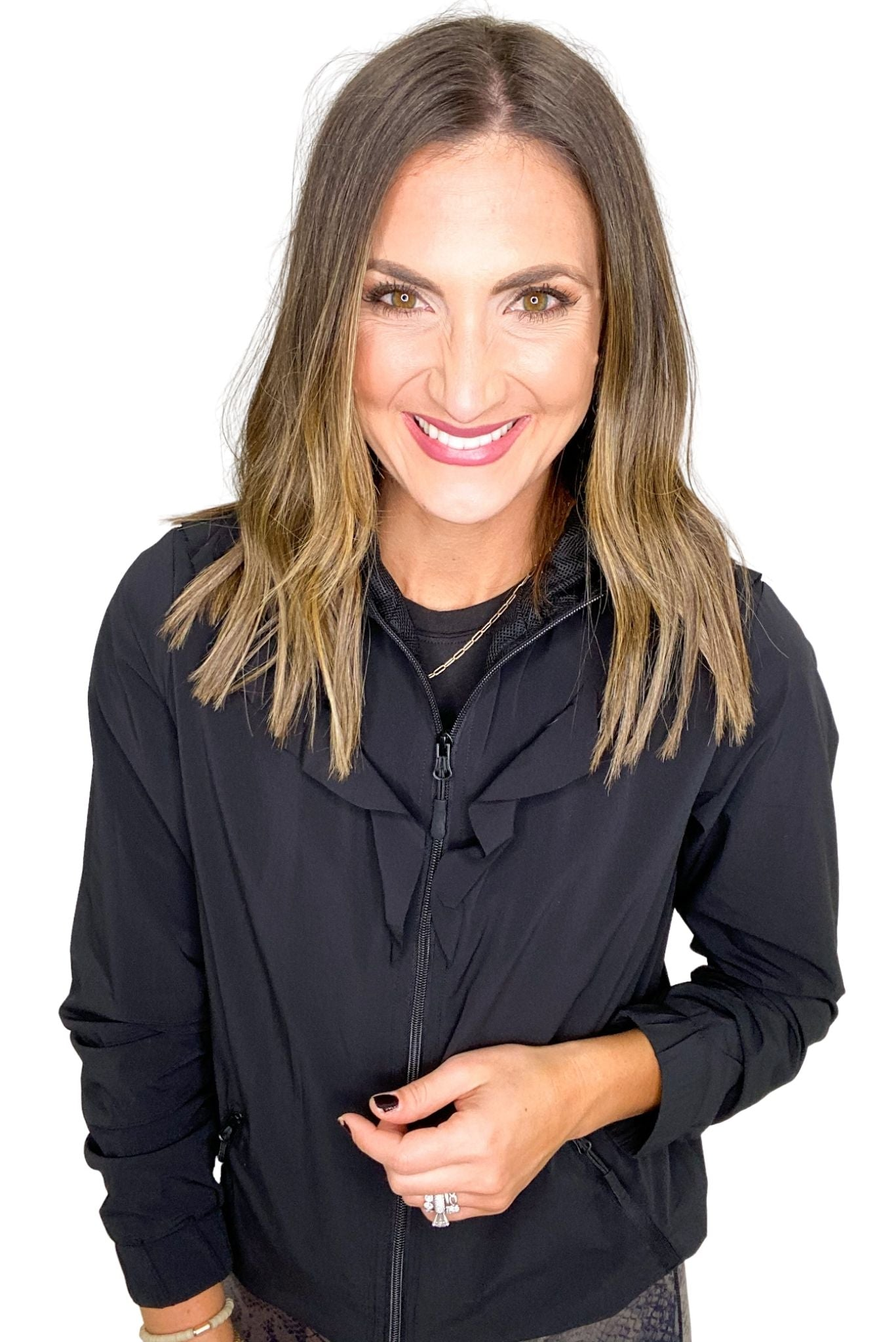 Black Ruffled Front Activewear Jacket