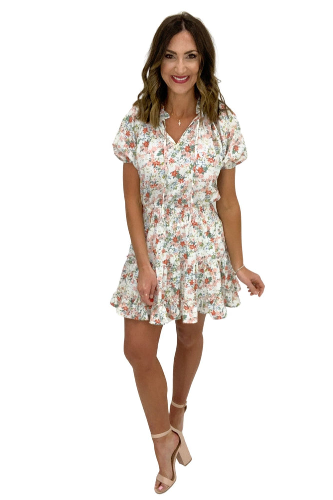 ivory floral short sleeve dress with smocked waist, spring dresses, affordable style, shop style your senses by mallory fitzsimmons