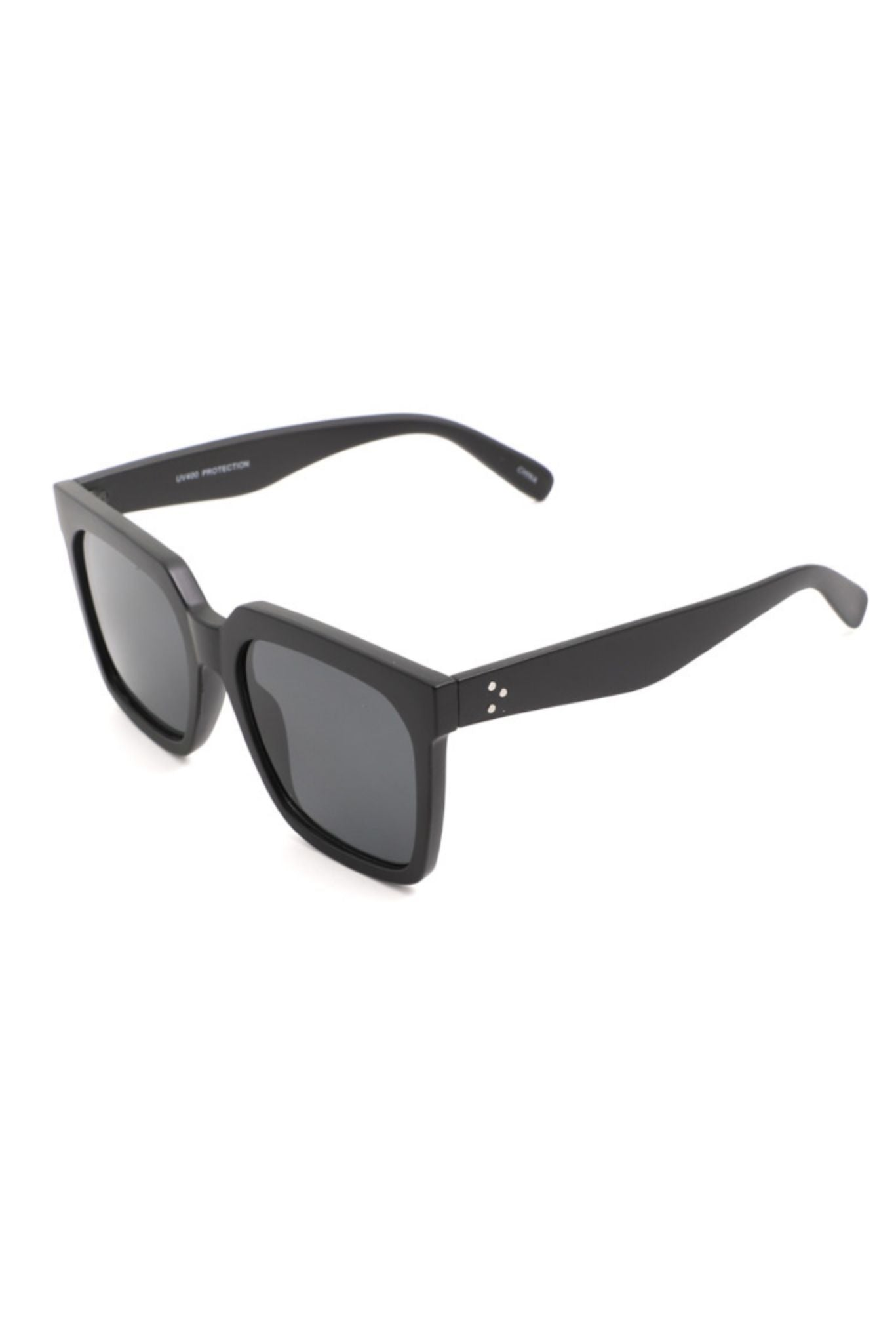 Shiny Black Square Frame Sunglasses