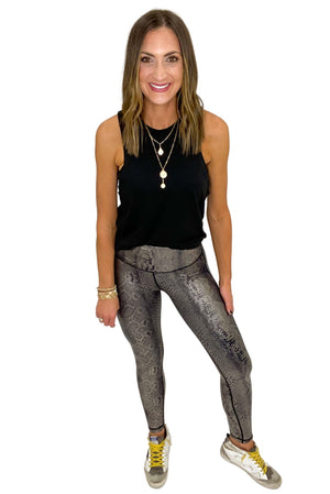 Load image into Gallery viewer, Copper Scale Foil Print Highwaisted Leggings