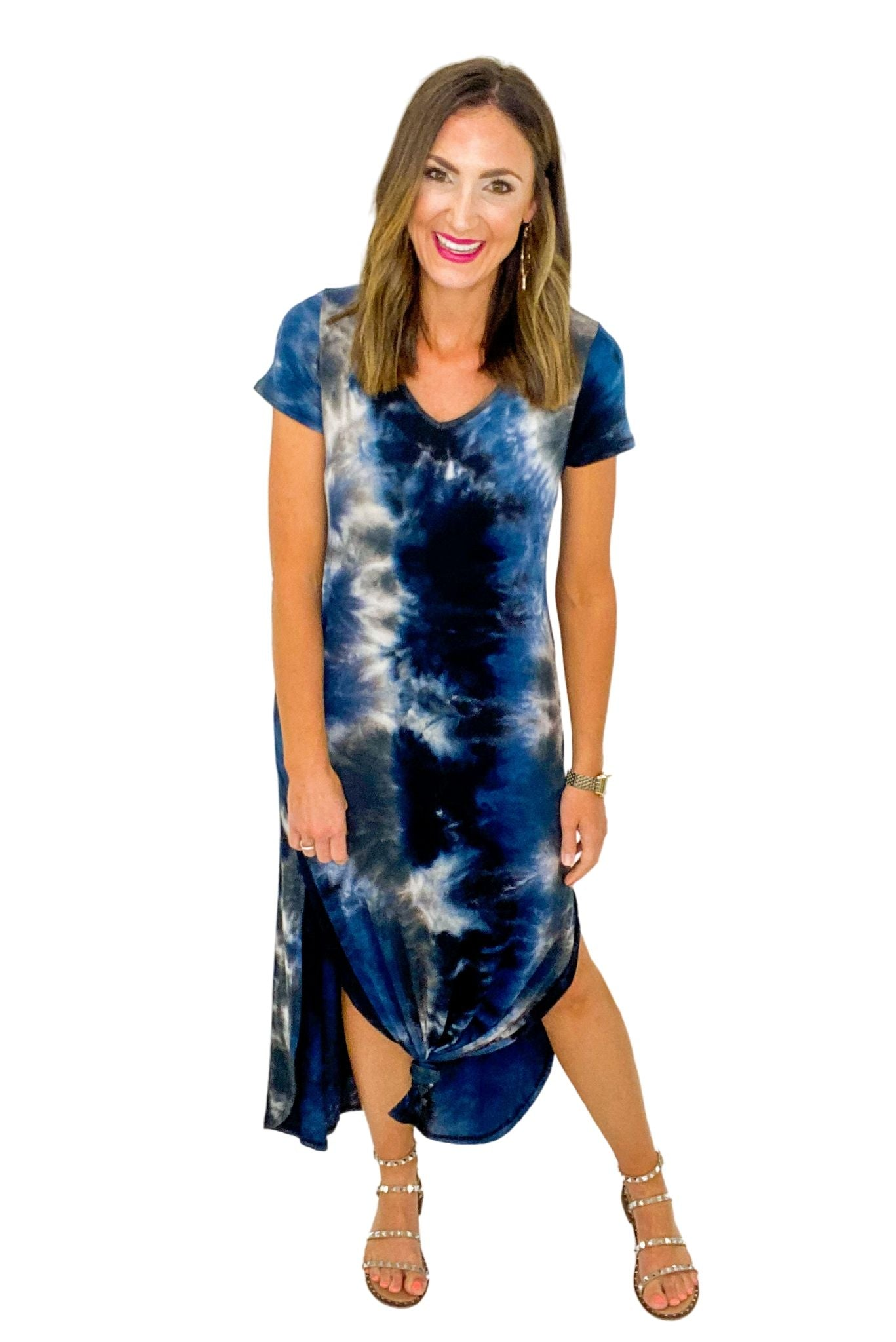 Navy Tie Dye Casual Maxi Dress